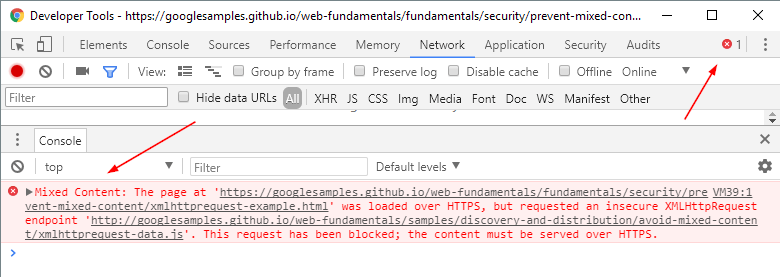 Chrome Developer Tools Mixed Content