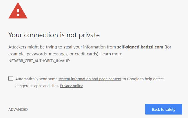 Self-signed SSL Certificate Web Browser Warning